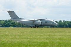 Preparing for takeoff military transport aircraft Antonov An-178. Royalty Free Stock Image