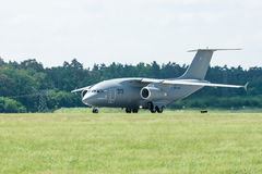 Preparing for takeoff military transport aircraft Antonov An-178. Royalty Free Stock Image