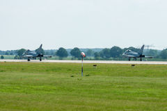Preparing for takeoff multirole fighter Eurofighter Typhoon. Stock Photography