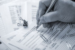 Preparing Tax Forms Stock Photography