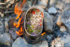 Preparing tea on campfire. Preparing tea on campfire in wild camping Royalty Free Stock Photos