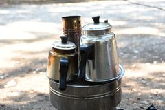 Preparing tea. The name of this device is Semaver. still used in some parts of the field in Turkey royalty free stock images