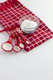 Preparing to Bake Christmas Cookies. Baking ingredients to make Christmas Cookies royalty free stock photo