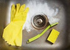 Preparing to clean the sink