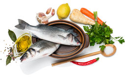 Preparing to cook sea bass fishes, view from above stock photos