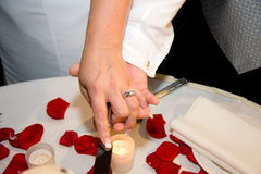 Preparing To Cut The Cake. Hands of a bride and groom grasping the knife, preparing to cut their wedding cake.  Red rose petals are scattered on the tabletop Stock Photo