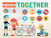 Preparing to cycling together. Vector design illustration Stock Images
