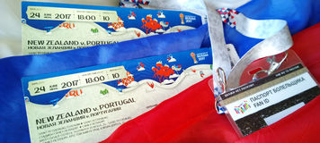 Preparing to enter the matches of the confederations Cup in 2017 and World Cup 2018 in Russia. Fan set - tickets and id-card stock photo