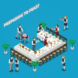 Preparing To Feast Isometric Composition. With waiters, dishware and food on table on blue background vector illustration Royalty Free Stock Photography