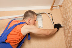 Preparing to install new air conditioner royalty free stock image