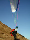 Preparing to launch. Ready to launch a paraglider Stock Photo