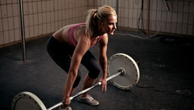 Preparing To Lift Heavy Weight Bar Royalty Free Stock Image