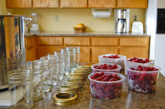 Preparing to make Raspberry Jam Stock Images