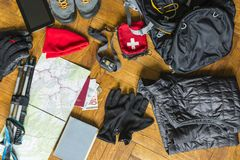 Preparation for packing the backpack. Preparing to pack your rucksack for a walking tour Royalty Free Stock Images