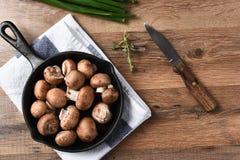 Preparing to Sautee Mushrooms Stock Images