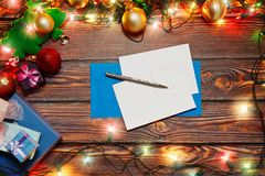 Writing Christmas and New Year cards stock images