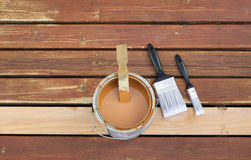Preparing to Stain Wooden outdoor deck Stock Photo