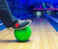 Strike on a bowling ball. Preparing to strike on a bowling ball Stock Photos