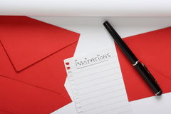 Preparing to Write Invitations Stock Photo