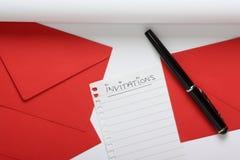 Preparing to Write Invitations Stock Photo