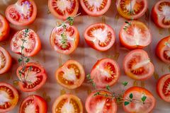 Cut tomato background royalty free stock photos