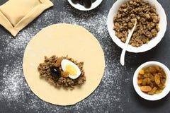 Preparing Chilean Empanada de Pino Royalty Free Stock Image