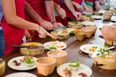 Preparing traditional thai food. Traditional way of preparing thai food using chopper knife. Picture of traditional thai cuisine made of fresh ingredients taken Royalty Free Stock Photography