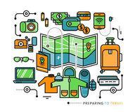 Preparing Travel Necessary Items What to Pack Royalty Free Stock Image