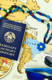 Preparing for travel,passport and sun glases close-up Royalty Free Stock Photos