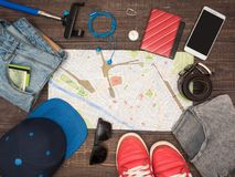 Preparing for travel to Italy, things are laid out on the table Royalty Free Stock Images