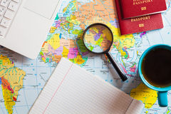Preparing for travel, travel , trip vacation, tourism. Travel planning Stock Images