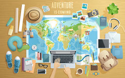 Preparing for the trip, Travel accessorieson wooden background. vector illustration