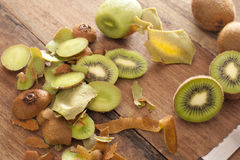 Preparing a tropical kiwifruit dessert Royalty Free Stock Images