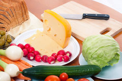 Preparing vegetable and cheese Royalty Free Stock Photos