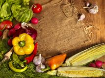 Preparing vegetable on wooden boards. Royalty Free Stock Photography