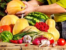 Preparing vegetable on wooden boards. Royalty Free Stock Photo