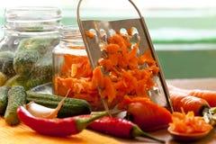 Preparing vegetables in jars Stock Photography
