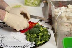 Preparing a veggie platter Royalty Free Stock Images