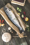 Preparing whole salmon fish for cooking. Vegetables on the table. Vintage style Royalty Free Stock Image