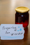 Preparing for the winter. Raspberry jam. Healing jam of colds and flu.jar of raspberry jam for winter.raspberry jam recipe Stock Image