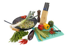 Preparing wok. With fresh vegetables on cutting board, white background Stock Photography