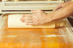 Preparing Yeast Dough for making bakes. Stock Photos