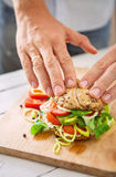 Prepearing sandwich process Royalty Free Stock Images