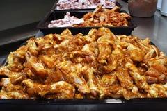 Preperation 1 dell'ala di pollo Fotografia Stock