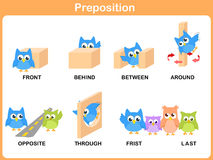 Preposição do movimento para o pré-escolar ilustração stock