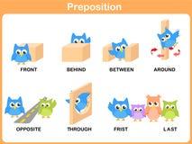 Preposición del movimiento para el preescolar foto de archivo