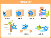 Preposition of motion for preschool. N Royalty Free Stock Photos