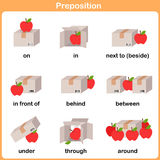 Preposition of motion for preschool - Worksheet for education Stock Image