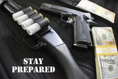 Free Prepper Doomsday Concept With Guns & Money High Quality Royalty Free Stock Image - 178056686