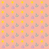 Preppy nautical wallpaper pattern. With boat, ship, anchor, star motifs. Ideal for cover, background, print, web. EPS file available Stock Photo